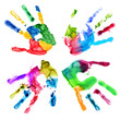 Handprints in different colors on a white