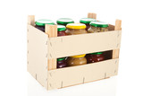 Wooden crate preserved vegetables