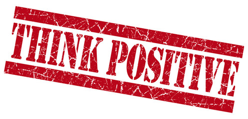 Think positive red grunge stamp