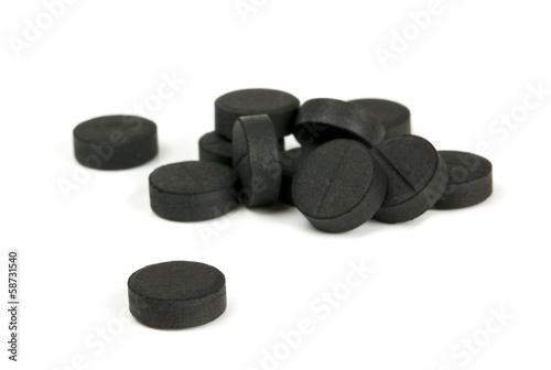 black pills isolated on white