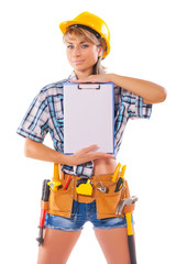 construction female worker showing clipboard