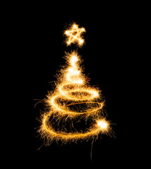 Christmas tree made by sparkler