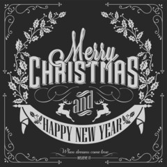 Vintage Christmas - New Year Background On Blackboard With Chalk