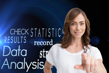 Composite image of attractive brunette pointing