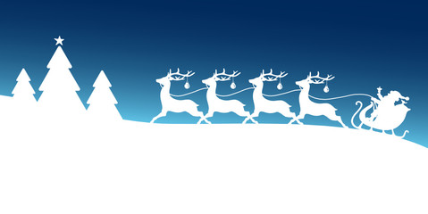 Card Christmas Sleigh Forest Blue