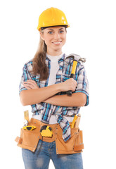 female worker holding hammer isolated