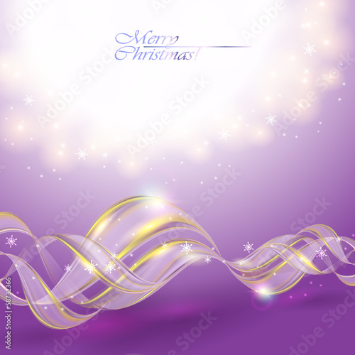 Golden transparent bow on purple Christmas background