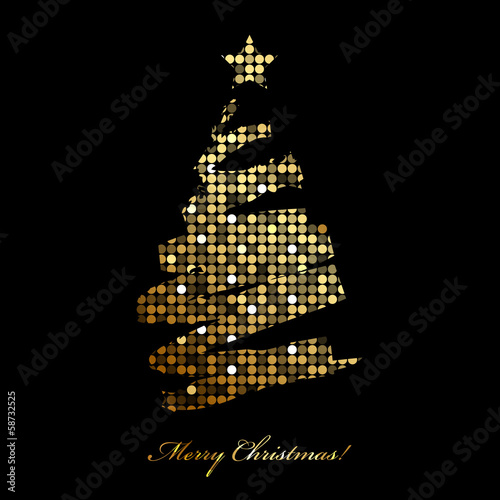 Vector Merry Christmas card with christmas tree from disco light