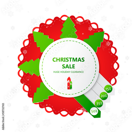 Christmas sale design template with percent discount.