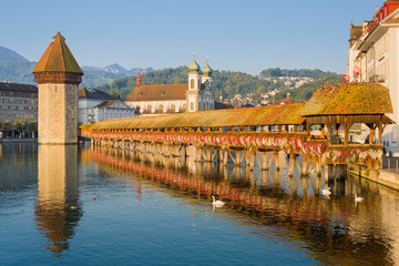 Chapel Bridge in Luzern at sunrise