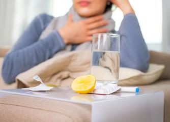 Sick Woman. Flu. Woman Caught Cold