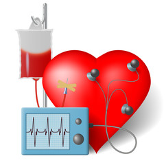 Blood transfusion flowing to heart and cardiac monitor