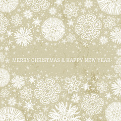beige christmas background with snowflakes,  vector illustration