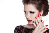 Glamour Fashion Woman Portrait. Manicured nails. Red lips. Make