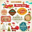 Set of Christmas vintage labels, ornaments and icon element