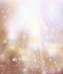 Vector glitter  background with rays and lights.