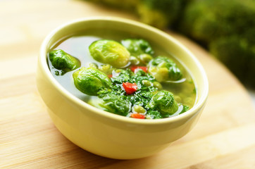 Homemade soup with brussels sprouts