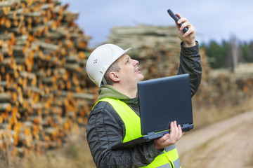 Forest employee near stacks of logs