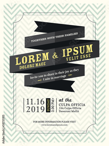 Modern Ribbon banner Wedding invitation frame template