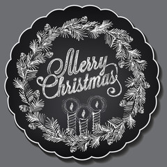 Christmas illustration. Chalking, freehand drawing