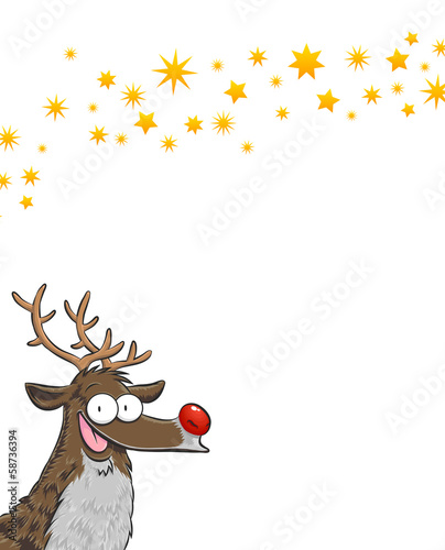 Rudolph on a vertical white background with golden stars