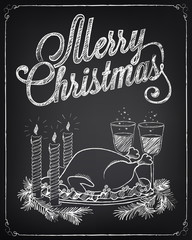 Christmas illustration on the chalkboard
