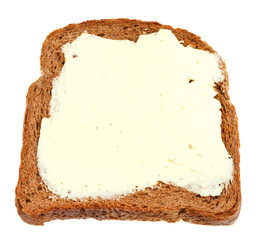 top view of bread and butter sandwich