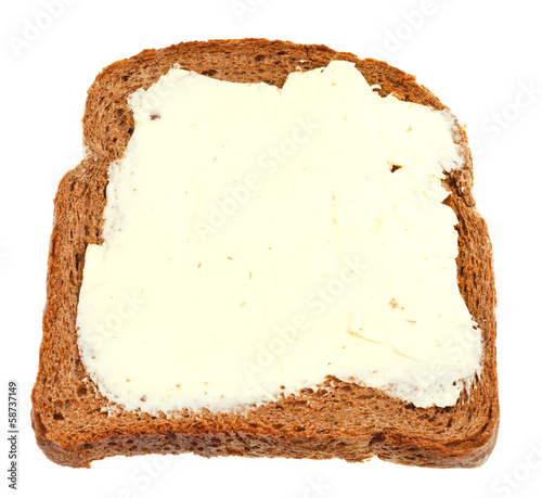 Fotobehang Picknick top view of bread and butter sandwich