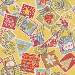 Cute Christmas elements , vector  stamps seamless pattern
