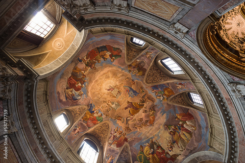 ceiling of San Carlo al Corso basilic church. Rome. Italy.