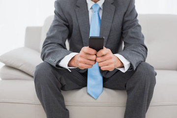 Mid section of a well dressed man text messaging on sofa