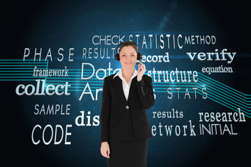 Composite image of good looking woman in suit using headphones a