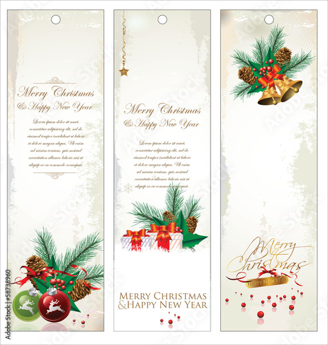 Merry Christmas banner vertical background