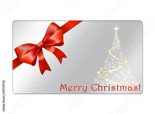 Christmas Gift Card with red bow and christmas tree
