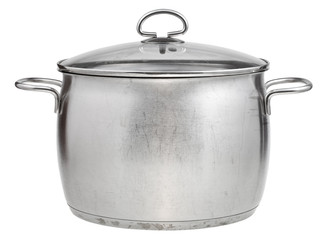side view of big steel pan covered by glass lid