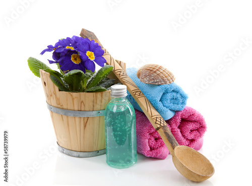 Spa accessories over white background