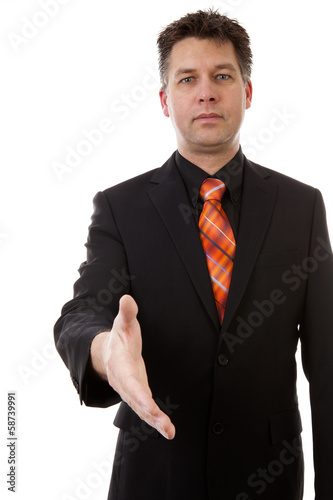 businessman is shaking your hand, isolated on white background