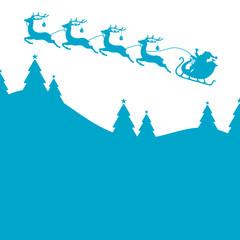 Christmas Sleigh 4 Reindeers Blue
