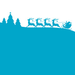 Christmas Sleigh Forest Blue