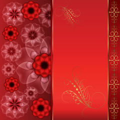Red oriental background with flowers and gold