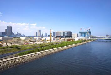 東京湾岸 再開発地域 現場(2020年東京オリンピック競技会場が集中するエリア 有明北橋より)