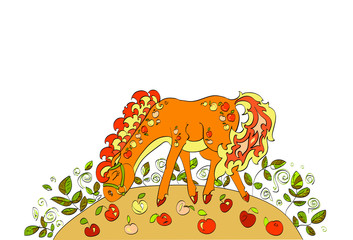red horse with apples walking on  autumn meadow