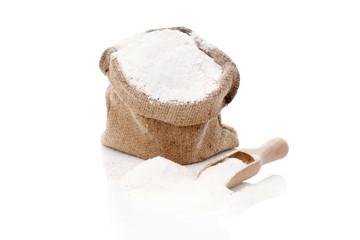 Flour in burlap sack.
