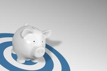 Piggy bank - white pig on blue target circles