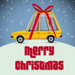 christmas card with gift car