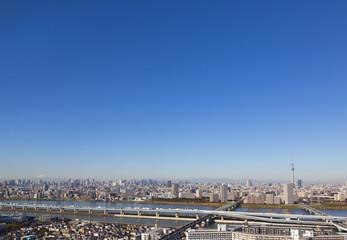 東京都市風景 東京スカイツリーと富士山を望む