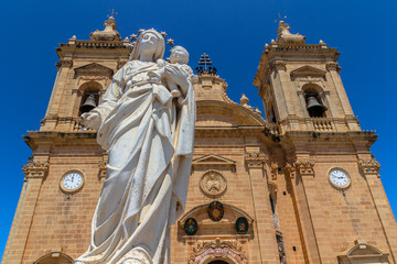 Virgin Mary statue at the entrance of the Xaghra parish in Gozo