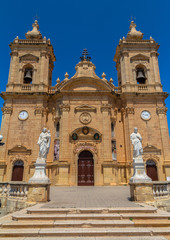Xaghra parish church dedicated to Our Lady of Victories in Gozo