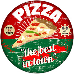 retro pizza enamel sign, vector eps 10