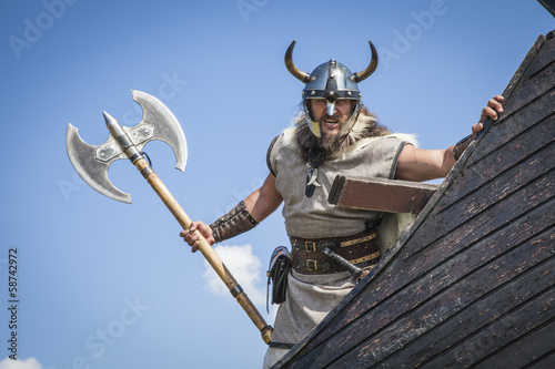 Strong Viking on his ship